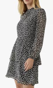 Warehouse Little Leaf Print Mini Dress, Black/Multi Size 12 BNWT RRP £46