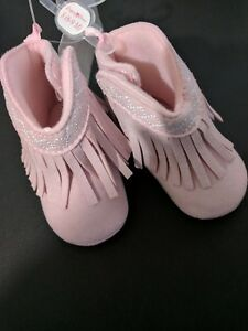 Stepping Stone Baby girl pink Fringe Boot Bootie Shoe size 6-9 months NEW