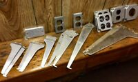 ASSORTMENT OF SHELF BRACKETS, ELECTRICAL SUPPLIES ETC. 19 PIECES IN ALL!!