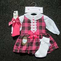 NEW Girls Kinder Boutique Spanish Style Bow Dress & Blouse Cerise Pink Tartan
