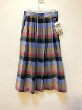 Vintage Young Reflections Nos W/Tags Pleated Plaid Midi Skirt Pockets Size 5