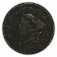 1817 1c Coronet Head Large Cent - Mid-Grade Coin - SKU-Y2291