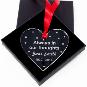 In our thoughts Memory Tree Bauble Christmas Acrylic Memorial Remembrance
