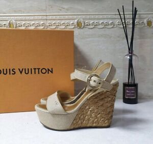 Louis Vuitton Beige Canvas Wedge Sandals Sz.38