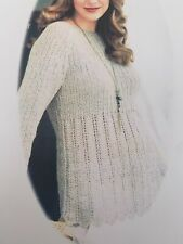 """Ladies Ribbed Sweater Jumper Knitting Pattern Chest 32 - 40""""  DK BR793"""