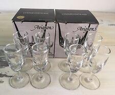 AVIGNON: Vtg Cristal D'arques Durand Cordial Set 8 Glasses in Boxes, 1 1/3 Oz