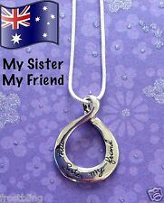 My Sister My Friend 925 Sterling Silver Necklace Pendant Sister Family Gift NEW