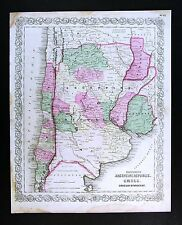 1866 Colton Map - Argentina Paraguay Uruguay Chile Buenas Aires - South America