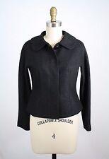 Talbots Black Silver Metallic Wool Blend Hidden Snaps Lined Blazer Size 2