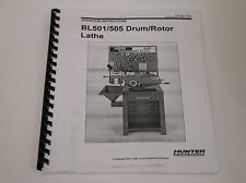 Hunter BL501 & BL505 Disc & Drum Brake Lathe Operating & Instruction Manual