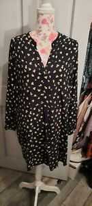 H&M Navy Ditsy Floral Multi Tunic Style Top Size Eur 44