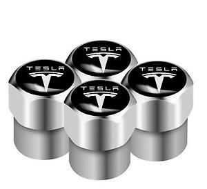 Tesla Model 3 S X Roadster Aluminum Valve Cap SILVER Wheel Tyre