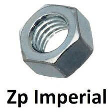 "Qty 100 Hex Standard Nut 1/4"" UNC Imperial Zinc Plated Steel Grade 8 BSW ZP"