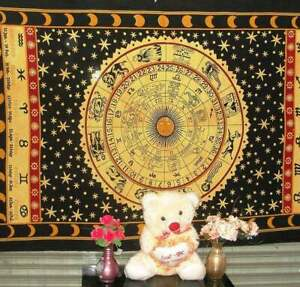 Zodiac Sign Tapestry Horoscope Tapestry Indian Astrology Hippie Wall Hanging