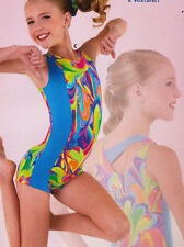 NWOT Axis Gymnastic Biketard Fluorescent Multi Color Design Girls Medium 94232
