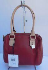 Calvin Klein Crimson Red Leather Beige Bowler Handbag Bag Satchel Purse New