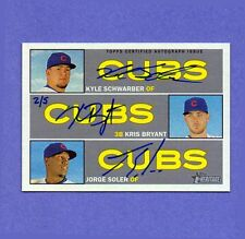 2016 TOPP HERITAGE REAL ONE TRIPLE 2/5 AUTO AUTOGRAPH CUBS BRYANT SCHWARBER 2017