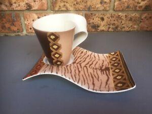 VILLEROY & BOCH Large New Wave Caffe Amboseli CUP/Mug & SAUCER Ltd Ed. 2007