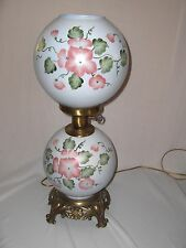 2 Round Globes Vintage Porcelain 3-Way Lights Table Lamp Painted Dogwood  NICE