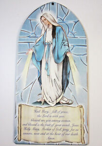 """Our Lady of Grace Hail Mary Prayer Picture on Wood 7.5""""  Made in Italy"""