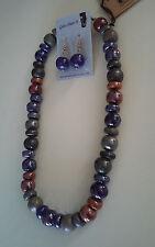 Kazuri Hand-Painted Fair Trade Garden Sunset Ceramic Necklace Earring Set Kenya