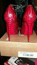 Christian Louboutin So Kate Python 120mm Burgundy Wine Red Sz 7