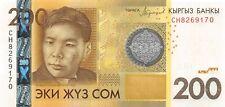 Kyrgyzstan 200 Som 2016 Unc pn 27b prefix CH