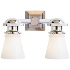 Visual Comfort New York Subway Double Light in Polished Nickel with White Glass