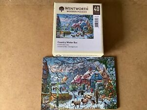 wentworth wooden jigsaw puzzle country winter bus christmas 40 piece complete