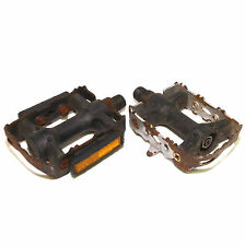 """Right Hand Silver or Black Plastic Steel Cage Pedals 9/16"""" Road Touring Rat Trap"""
