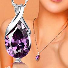 Women's Silver Purple Gemstone Amethyst Pendant Crystal Wedding Jewelry fashion