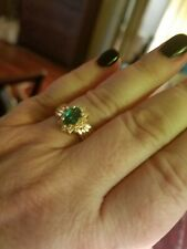 Natural emerald & diamond 14k yellow gold ring- size 6-1/4