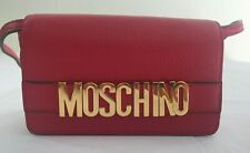AW17 Moschino Couture Jeremy Scott Red Calf LEATHER w/ Gold Logo Crossbody Bag