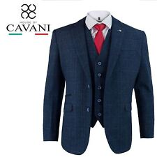 Mens Cavani Tweed Blue Check Herringbone Blazer Wasitcoat Trousers 3 Piece Suit