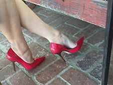 *swEET ReD Sz 6.5 PaTeNT Leather Pointy Toe CARRIE Stilettos Heels PUMPs GuESS
