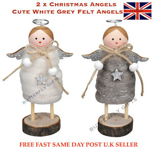 Pair Of Angels Christmas Decorations Felt Fabric Halos Glitter Wings Wooden base