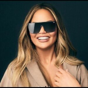 Quay Australia x Chrissy Nightfall Matte Black/Smoke Lens Shield Sunglasses NEW