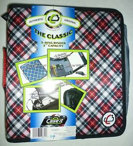 """Case-It The Classic 3-Ring Zippered Binder 2"""" Capacity Red Black & White Plaid"""