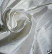 PURE WHITE Bridal 100% DUPIONI SILK FABRIC YARDAGE By the Yard Quilt Sew Drapery