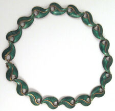 Vintage Mid-Century Sterling Silver and Enamel J. Tostrup Norway Choker Necklace