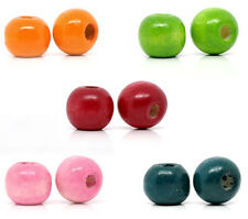 1000 Mixed Dyed Round Wood Spacer Beads 10x9mm