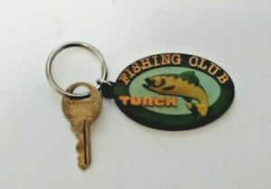 Vintage TURCK FISHING CLUB Rubber Logo Key Chain Key Fob 3-D BASS!