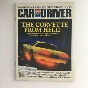 Car & Driver Magazine October 1988 Corvette From Hell & Ford Thunderbird SC, VG