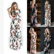 Retro Women Flower Long Sleeve Boho Dress Ladies Evening Party Long Maxi Dress