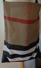 BURBERRY Brand New Stunning Canvas Leather Large Check Tote Bag With Clutch Tan