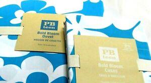 Pottery Barn Teen Duvet Cover Twin Bold Bloom + 1 Pillow Case Blue White Cotten