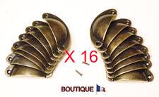 16 X POIGNEE COQUILLE 82 MM COULEUR BRONZE TIROIR MEUBLE CASIER METIER