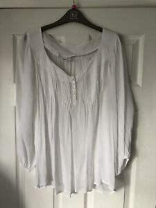 Next White Sheer Floaty Top Size 14