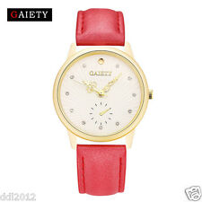 Casual Women Men Luxury Quartz Analog Watch Leather Band Retro Wrist Watches Hot Black
