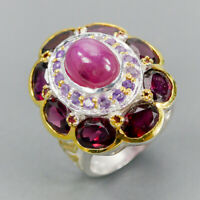 Very Popular Natural Star Ruby 925 Sterling Silver Ring Size 6.5/R123693